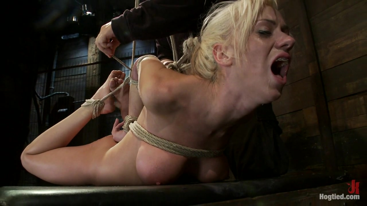 hot blonde with big tits, pony tails, and braces .face fucked, hogtied and made to cum like a whore. - hogtied