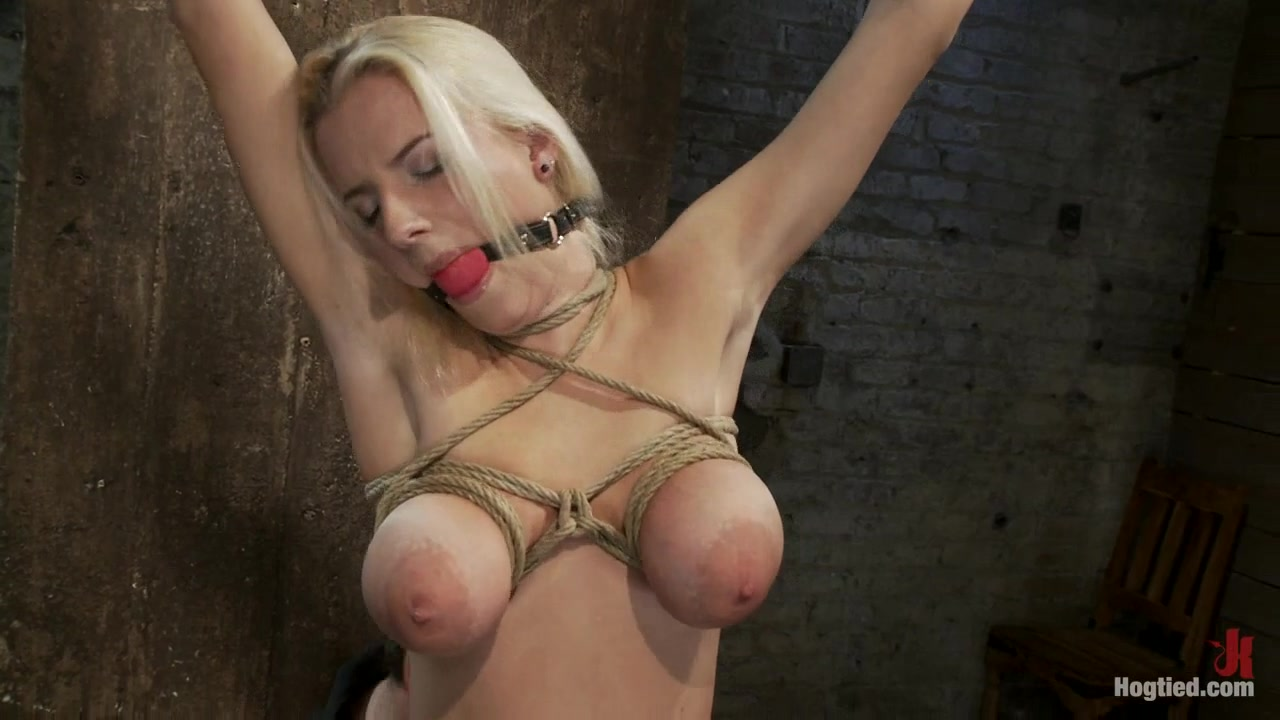 19 year old hot blonde with huge natural tits is her first hardcore bondage session. - hogtied