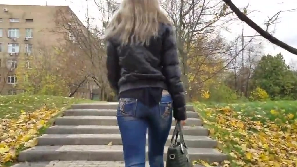 beautiful blonde with round ass in jeans