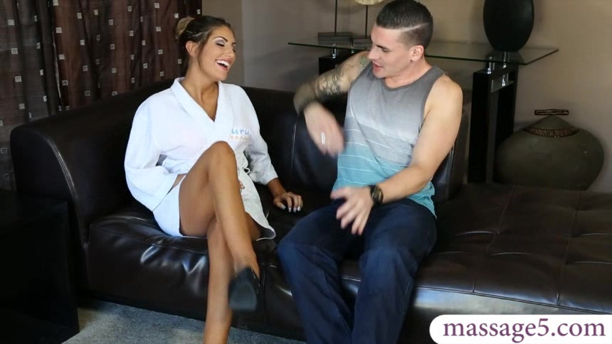 Busty masseuse August Ames gives nuru massage and pounded