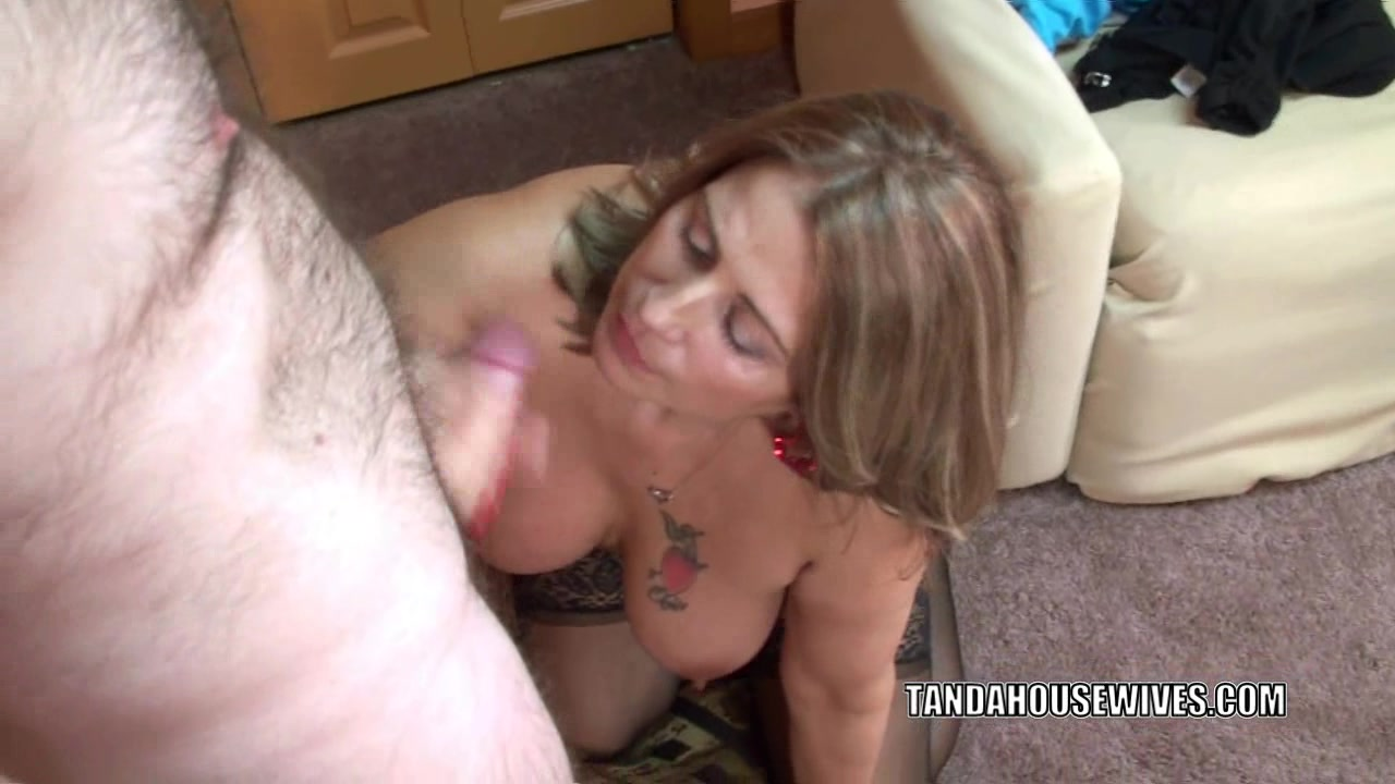 Mature swinger Sandie Marquez is swallowing a stiff cock