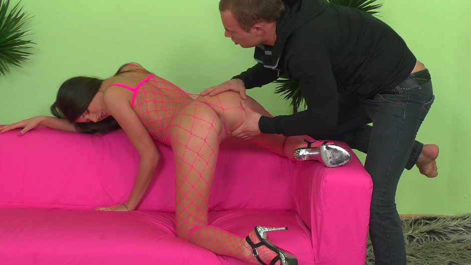Agnessa in slut fucks while wearing high heel platform shoes