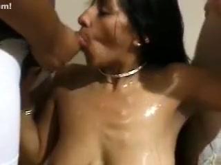 Indian porn amateur hottie gets big loads on her face