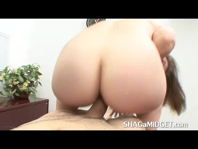 Horny Midget Slut Riding big Cock