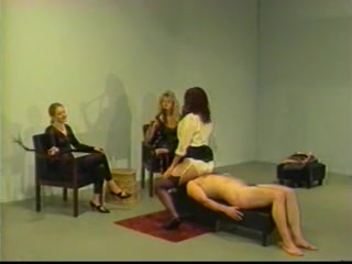 Slave gets spanked in female domination porn
