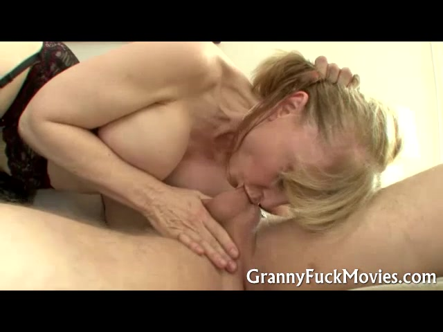 Grandma in black nylons dicked